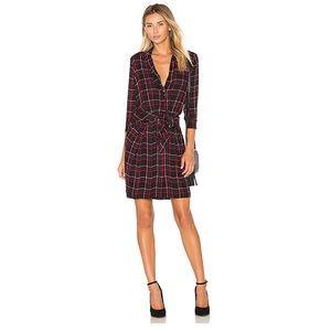 L'Agence Silk Plaid Kendall Shirt Dress - Midnight